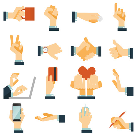 Illustration pour Hand gestures flat icons set expressing victory rejection and love with heart symbol abstract vector isolated illustration - image libre de droit