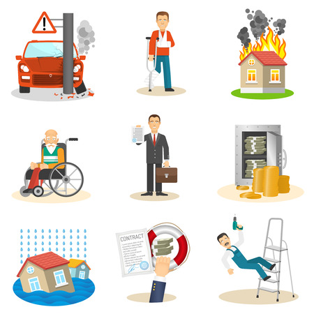 Illustration pour Insurance and risk insured event flat icons set on white background isolated vector illustration - image libre de droit