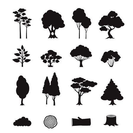 Illustration pour Forest elements black icons set with stump log trees isolated vector illustration - image libre de droit