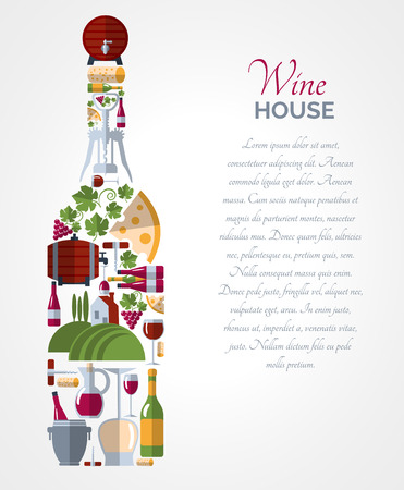 Illustration pour Wine house advertisement icons composition bottle shape poster with ice bucket and cheese abstract vector isolated illustration - image libre de droit