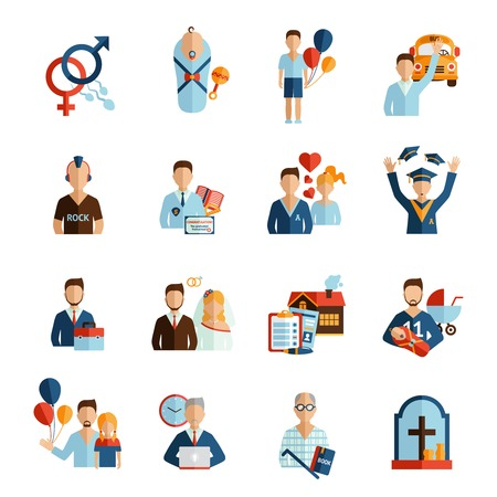 Illustration pour Person life stages and growing process icons set isolated vector illustration - image libre de droit