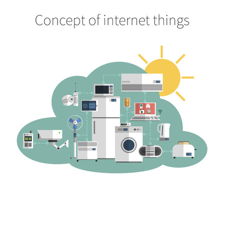 Ilustración de Internet things concept flat icon in public data exchange cloud protected environment symbol poster abstract vector illustration - Imagen libre de derechos