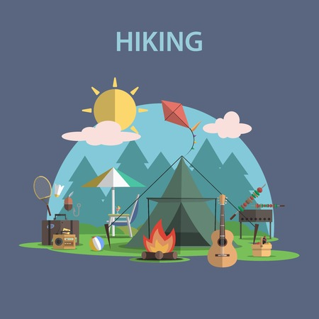 Illustration pour Hiking and outdoor recreation concept with flat camping travel icons vector illustration - image libre de droit