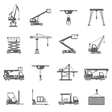 Illustration pour Lifting equipment and heavy industrial machines black icons set isolated vector illustration - image libre de droit