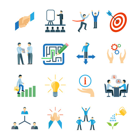 Illustration pour Mentoring and personal skills development icons flat set isolated vector illustration - image libre de droit