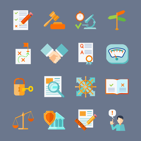 Illustration pour Legal compliance deal protection and copyright regulation flat icons set isolated vector illustration - image libre de droit