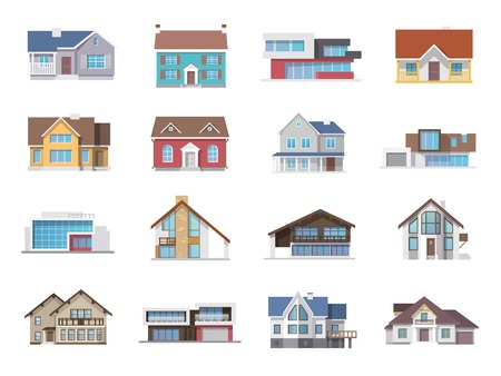 Illustration pour Town house cottage and assorted real estate building icons flat set isolated vector illustration - image libre de droit