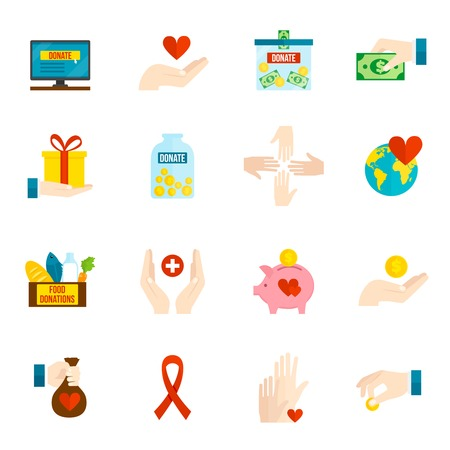 Illustration for Charity and relief volunteer assistance icons flat set isolated vector illustration - Royalty Free Image