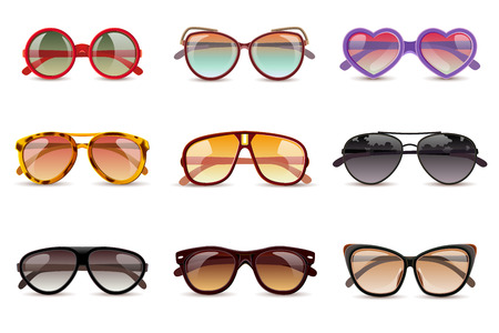 Illustration for Summer sun protection sunglasses realistic icons set isolated vector illustration - Royalty Free Image