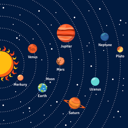 Illustration pour Solar system with sun orbits and planets on dark blue background flat vector illustration - image libre de droit