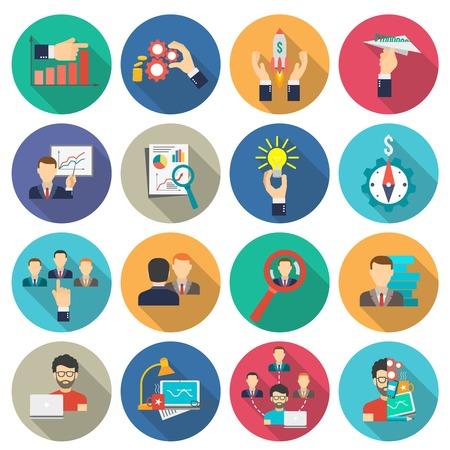 Ilustración de Business collaboration icons flat long shadow set isolated vector illustration - Imagen libre de derechos