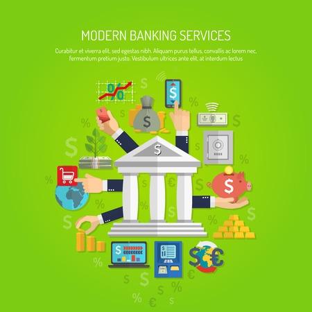 Ilustración de Banking service concept with human hands and flat finance icons vector illustration - Imagen libre de derechos