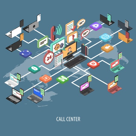 Foto de Support call center isometric flowchart concept with 3d communication buttons and world map vector illustration - Imagen libre de derechos
