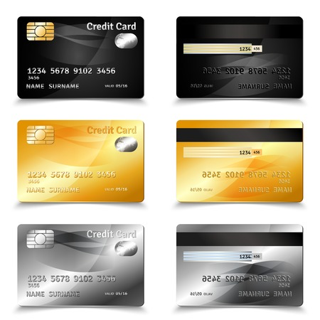 Illustration pour Credit card set in golden black and grey design realistic isolated vector illustration - image libre de droit