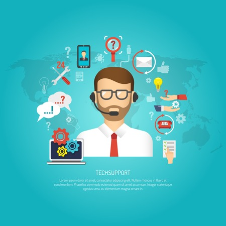 Illustration pour Tech support concept with male operator and customer service symbols flat vector illustration - image libre de droit