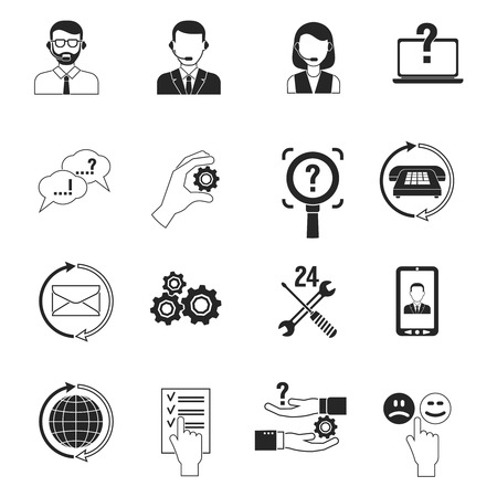 Illustration pour Support icons black set customer question answer service isolated vector illustration - image libre de droit