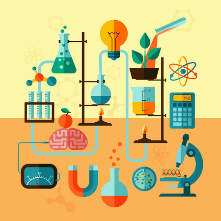 Ilustración de Scientific research biological chemistry laboratory equipment with calculator atom symbol and microscope poster flat abstract vector illustration - Imagen libre de derechos