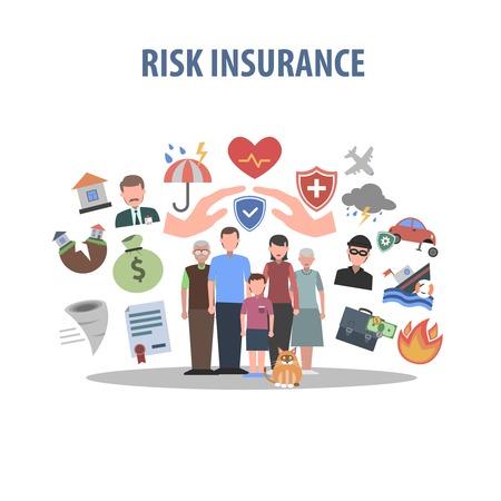 Illustration pour Insurance concept with human hands and accident protection symbols flat vector illustration - image libre de droit