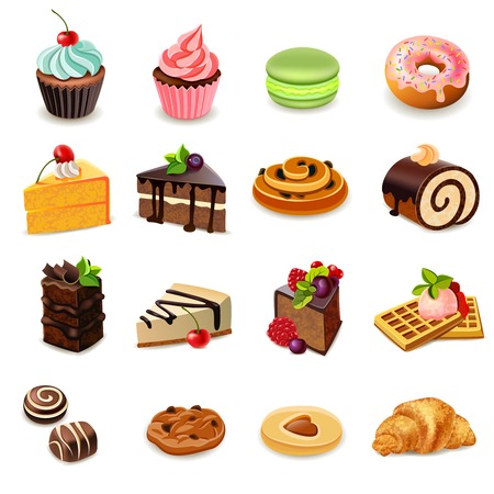 Illustration pour Cakes and sweets decorative icons set with donut cookies cupcake isolated vector illustration - image libre de droit