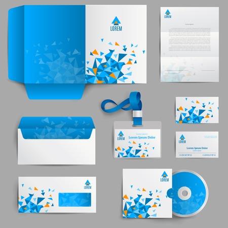 Ilustración de Corporate identity stationery in blue abstract design set isolated vector illustration - Imagen libre de derechos