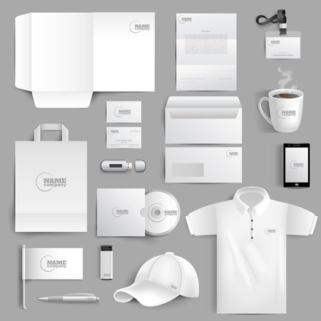 Ilustración de White corporate identity stationery set with realistic lighter cup and visit cards isolated vector illustration - Imagen libre de derechos