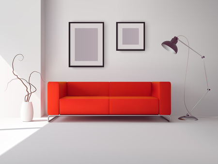 Illustration pour Realistic red square sofa with lamp and picture frames interior vector illustration - image libre de droit