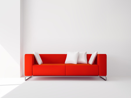 Illustration pour Realistic red square sofa on the metal legs with white pillows interior vector illustration - image libre de droit