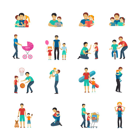 Ilustración de Fatherhood flat icons set with father playing with children isolated vector illustration - Imagen libre de derechos