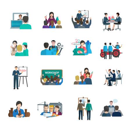 Illustration pour Workshop flat icons set with business leader presentation teamwork organization isolated vector illustration - image libre de droit
