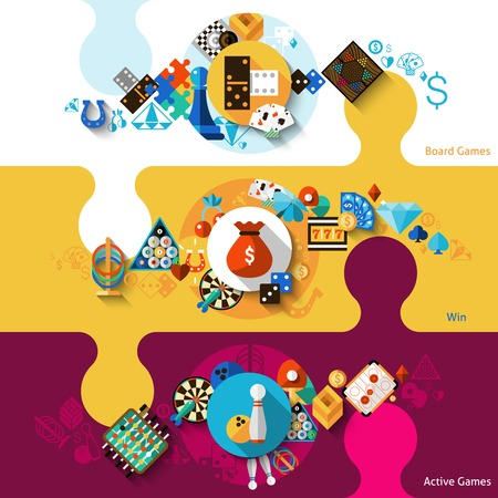 Illustration pour Games horizontal banner set with active board win games elements isolated vector illustration - image libre de droit