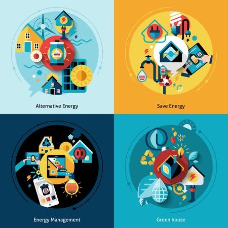 Ilustración de Energy efficiency design concept set with alternative power management flat icons isolated vector illustration - Imagen libre de derechos