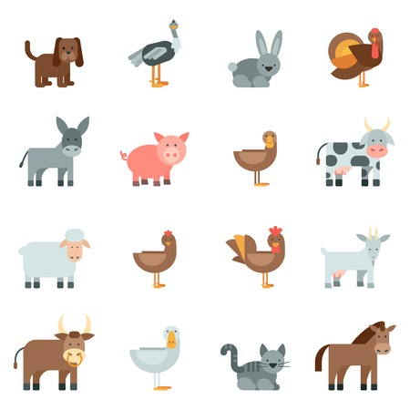 Photo pour Domestic animal flat icons set with dog rabbit donkey isolated vector illustration - image libre de droit