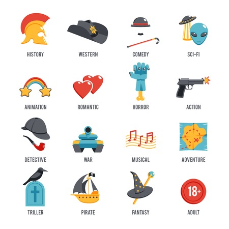 Illustration pour Film genres icon set with drama adventure detective pirate isolated vector illustration - image libre de droit