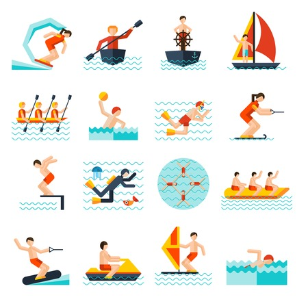 Water sports flat icons set with kite sailing canoe isolated vector illustration