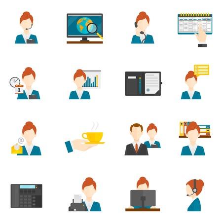 Illustration pour Personal assistant secretary and reception flat icons set isolated vector illustration - image libre de droit