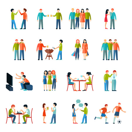 Illustration pour Friends relationship people society icons flat set isolated vector illustration - image libre de droit