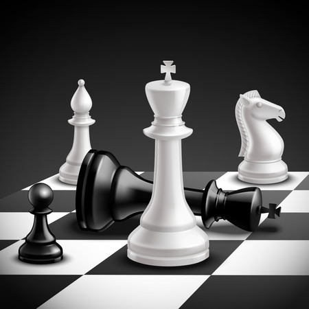 Illustration pour Chess game concept with realistic board and black and white pieces vector illustration - image libre de droit