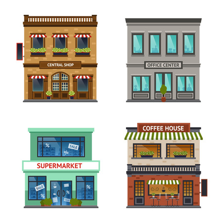 Foto de Vintage street view with office center shop coffee house and supermarket icons set abstract isolated  vector illustration - Imagen libre de derechos