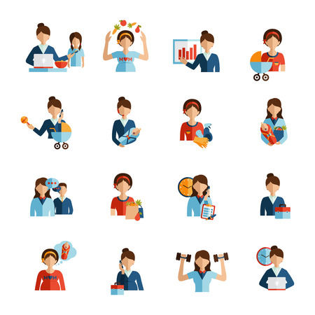 Illustration pour Businesswoman mother daily routine successful work family and fitness combination flat icons set abstract vector isolated  illustration - image libre de droit
