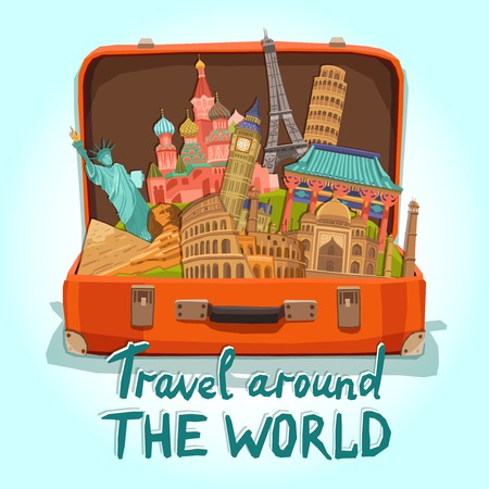 Illustration pour Open tourist suitcase with world heritage international landmarks set vector illustration - image libre de droit