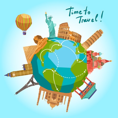 Illustration pour Travel background with world landmarks around the globe vector illustration - image libre de droit