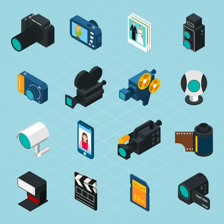 Photo for Isometric photo and video icons set with professional camera and equipment isolated vector illustration - Royalty Free Image