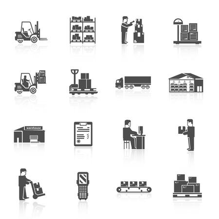 Illustration pour Warehouse black icons set with forklift cart pallet isolated vector illustration - image libre de droit
