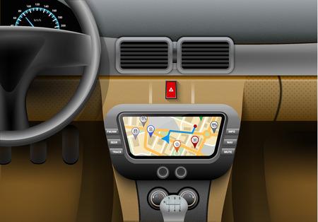 Ilustración de Realistic car interior with auto navigation system and gps map vector illustration - Imagen libre de derechos