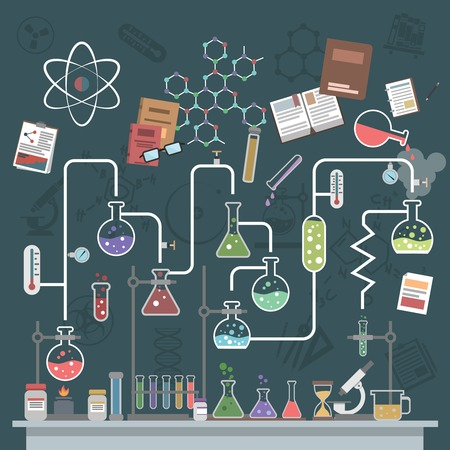 Illustration pour Science lab concept with flat flasks and physics symbols vector illustration - image libre de droit