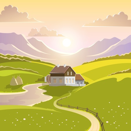 Illustration pour Mountain landscape with summer sun green meadow and country house vector illustration - image libre de droit