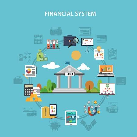 Ilustración de Finance system concept with bank and investment flat icons vector illustration - Imagen libre de derechos