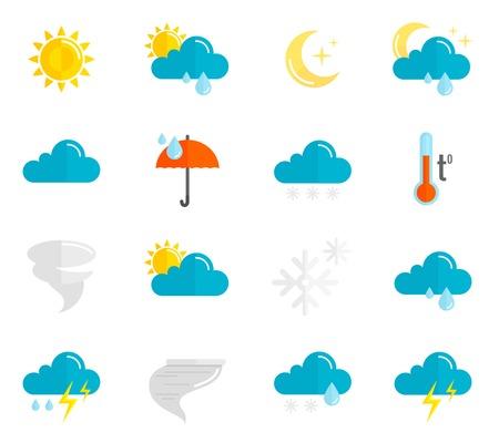 Illustration pour Weather forecast and meteorology symbols icons flat set isolated vector illustration - image libre de droit