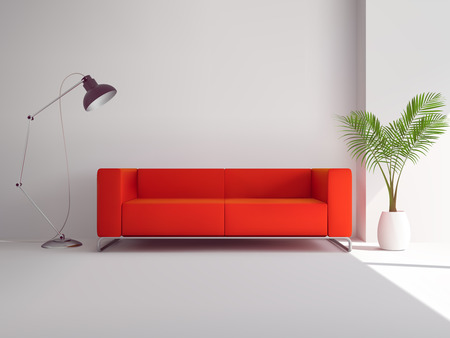 Illustration pour Realistic red sofa with floor lamp and palm tree in pot interior vector illustration - image libre de droit