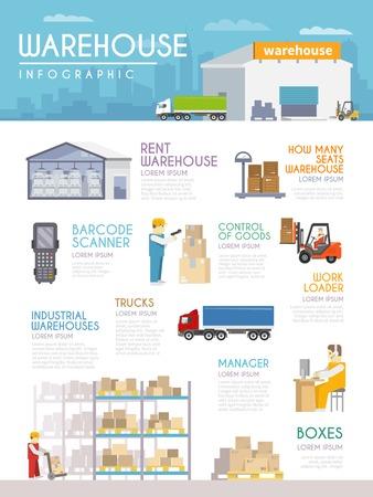 Illustration pour Warehouse infographics set with goods delivery and merchandise symbols vector illustration - image libre de droit